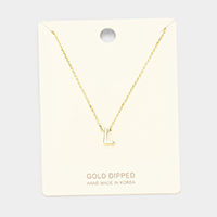 'L' Gold Dipped Metal Pendant Necklace