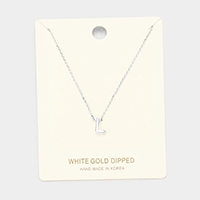 'L' White Gold Dipped Metal Pendant Necklace