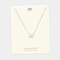 'M' Gold Dipped Metal Pendant Necklace
