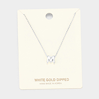 'M' White Gold Dipped Metal Pendant Necklace