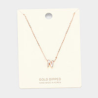 'N' Gold Dipped Metal Pendant Necklace