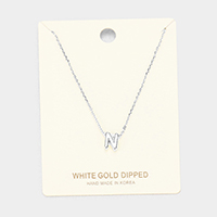 'N' White Gold Dipped Metal Pendant Necklace