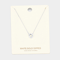 'O' White Gold Dipped Metal Pendant Necklace