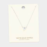 'P' White Gold Dipped Metal Pendant Necklace