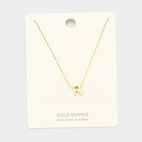 'R' Gold Dipped Metal Pendant Necklace