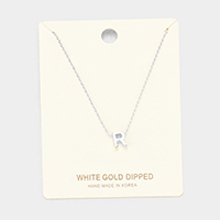 'R' White Gold Dipped Metal Pendant Necklace