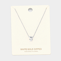 'S' White Gold Dipped Metal Pendant Necklace