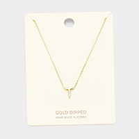 'T' Gold Dipped Metal Pendant Necklace