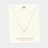 'T' White Gold Dipped Metal Pendant Necklace