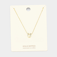 'U' Gold Dipped Metal Pendant Necklace