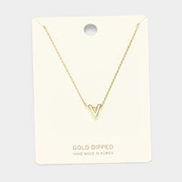 'V' Gold Dipped Metal Pendant Necklace