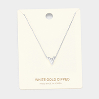 'V' White Gold Dipped Metal Pendant Necklace
