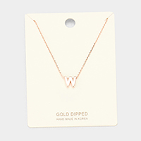 'W' Gold Dipped Metal Pendant Necklace