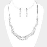 Crystal Rhinestone Pave Bib Necklace