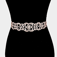 Crystal Rhinestone Pave Sash Ribbon Bridal Wedding Belt