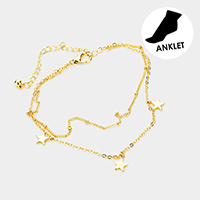 Brass Layered Chain Triple Metal Star Charm Anklet