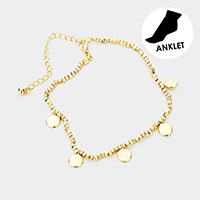 Brass Metal Cube Beaded Metal Disc Charm Station Anklet