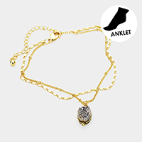 Brass Layered Chain Oval Genuine Druzy Charm Anklet