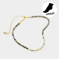 Metal Cube Centered Faceted Beaded Anklet