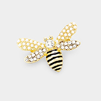 Crystal Pearl Cluster Honey Bee Pin Brooch