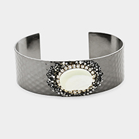 Oval Mother of Pearl Centered Cuff Bracelet