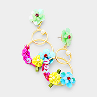 Sequin Flower Double Metal Hoop Dangle Earrings