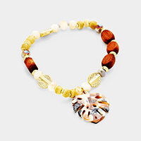Celluloid Acetate Tropical Leaf Charm Stretch Bracelet