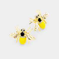 Pearl Cluster Honey Bee Earrings