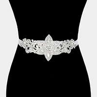 Felt Back Crystal Pave Sash Ribbon Bridal Wedding Belt