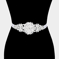 Felt Back Crystal Flower Sash Ribbon Bridal Wedding Belt