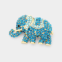 Crystal Pave Elephant Pin Brooch