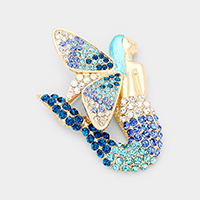 Crystal Pave Butterfly Mermaid Pin Brooch