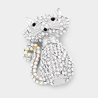 Crystal Pave Cat Pin Brooch