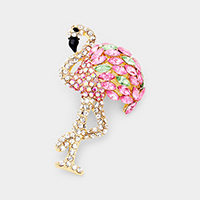 Crystal Pave Flamingo Pin Brooch