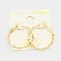 14K Gold Dipped 3cm Textured Twisted Metal Hypoallergenic Hoop Earrings