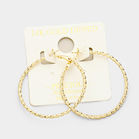14K Gold Dipped 4cm Textured Twisted Metal Hypoallergenic Hoop Earrings