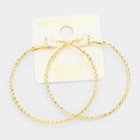 14K Gold Dipped 6cm Textured Twisted Metal Hypoallergenic Hoop Earrings