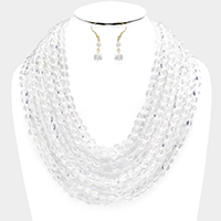 Multi Strand Faceted Clear Lucite Round Beaded Bib Necklace