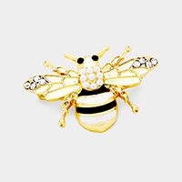 Pearl Rhinestone Honey Bee Pin Brooch