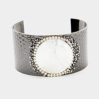 Round Mother of Pearl Centered Cuff Bracelet