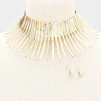 Crystal Metal Fringe Armor Collar Choker Necklace