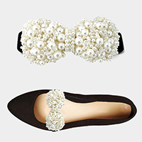 1Pair Pearl Cluster Bow Stretch Shoe Accessory