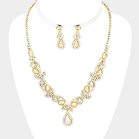 Floral Rhinestone Pave Teardrop Pearl Dangle Necklace