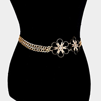 Crystal Rhinestone Flower Accented Chain Belt