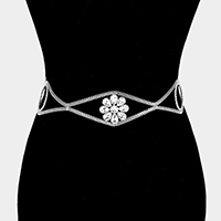 Crystal Flower Accented Chain Belt