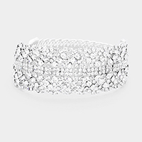 Crystal Bubble Cluster Cuff Evening Bracelet