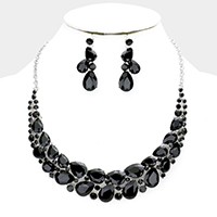 Crystal Teardrop Cluster Statement Evening Necklace