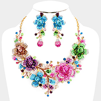 Marquise Crystal Flower Leaf Evening Necklace