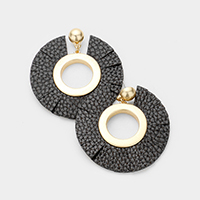 Cut Leather Round Earrings