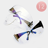 12PCS - Oversized Clear Lens Aviator Sunglasses